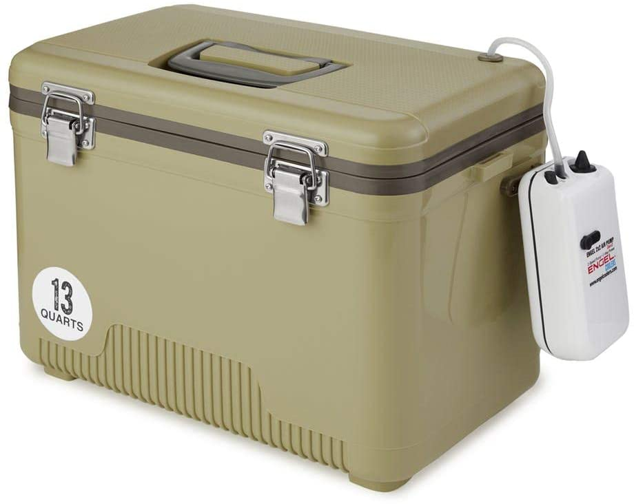 Tan Live Bait Drybox/Cooler with 2 Speed Aerator Pump  for axolotls transportation